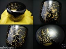 JAPANESE LACQUER WOODEN TEA CADDY RIKYU`S TASTE AUTUMN FIELD MAKIE NATSUME(1216)