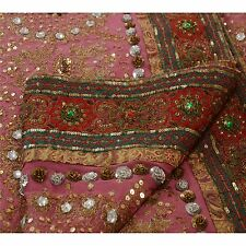 Vintage Sari Hand Beaded Fabric Saree Pure Georgette Silk Indian Sequins Work