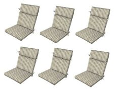 Gray Replacement Patio Cushions Set of 6 Reversible Outdoor Dining Chair Seat Pa