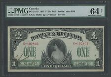 "CANADA #DC-23a-ii $1 1917 NO SEAL PREFIX K-R PMG VERY CHOICE ""64"" WLM396"