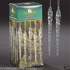 "W0055 5.25"" Twisted Clear Glass Icicles Set/12 Christmas Ornament Kurt Adler"