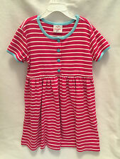 Girls Hanna Andersson 120 6 6X 7 Pink White Blue Trim Striped Play Dress Cotton
