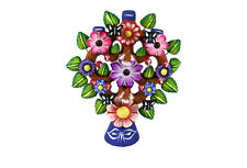 Mexican Curios Folk Art Tree of Life Candle Holder Decoration Hand Painted