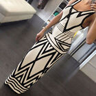 New Women Sexy Pencil Bodycon Geometric Pattern Party Cocktail Long Maxi Dress