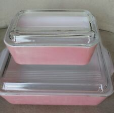 Vintage Flamingo Pink  Pyrex Refrigerator Dish With Ribbed Lid 0502 and 0503