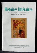 Revue Histoires littéraires n° 30 Du Lérot  2007 NM