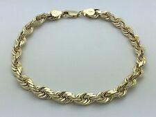 "Men's Solid 14K Yellow Gold 8"" Diamond Cut Rope Chain Bracelet 19.8 grams 6 mm"