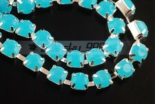 1Yard SS38 8mm Resin Rhinestones Point Back Claw Cup Sew On Trim Chain Lake Blue