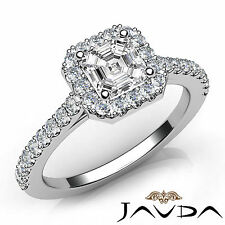 Shared Prong Set Asscher Diamond Engagement Ring GIA F VS1 18k White Gold 1Ct