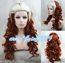 Newest X-Men - Rogue Brown-Red /White mixed long wavy cosplay Wig +wig cap
