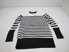 DG2 Chic Striped Boyfriend Sweater - XS - Black/White