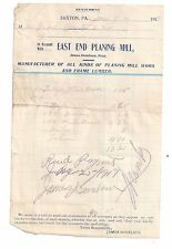 1919 EAST END PLANING MILL Saxton PENNSYLVANIA James Donelson