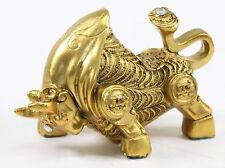 "Feng Shui 4"" Gold Money Bull Ox Wealth Statue Figure Chinese Zodiac Home Gift"
