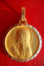 VIRGIN MARY OF LOURDES BEAUTIFUL GOLD COLOR OLD MEDAL PENDANT