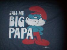 MEN'S THE SMURFS T-SHIRT SZ XL BLUE PAPA SMURF CALL ME BIG PAPA!
