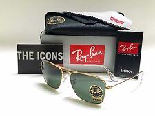 RAY-BAN CARAVAN RB3136 001 GOLD FRAME/CRYSTAL GREEN G15 LENSES 55mm SUNGLASSES