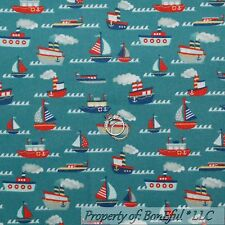 BonEful Fabric FQ Flannel Cotton Quilt Blue Red White Sail Tug Boat Sm Baby Boy
