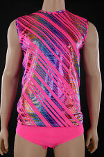 Mens XL, Fluro Pink Holo Foil Sleeveless Fitted Dance Top, Gym Jazz Tap Skating