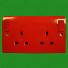 MK Red 2 Gang Switched 13A Mains Power UK 3 Pin Plug Socket Outlet