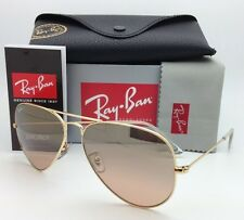 Ray-Ban Sunglasses RB 3025 Large Metal 001/3E 62-14 Gold w/ Brown pink gradient