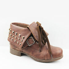 WOMENS LADIES FOLD OVER STUDDED CUFF LACE UP ANKLE BOOTS SHOES SIZE 3-8