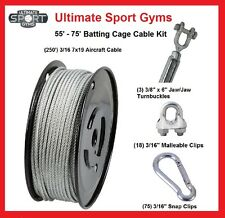 70' Baseball Softball Batting Cage Nets Cable Kit Heavy Duty Indoor Outdoor