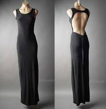 Black Open Back Backless Formal Evening Mermaid Column Gown Long 105 ac Dress S