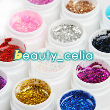 Pro12 Color Big Glitter Shimmer UV Builder Gel Nail Art Deco Set Tips Polish Kit