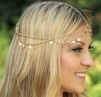 Women Gold color Metal Bohemian Hippie Belly Dance Hair Head Cuff Headband Chain