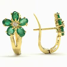 14k Yellow Gold Emerald Diamond Earrings May Birthstone
