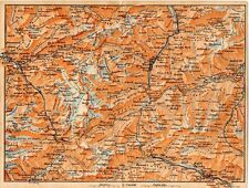 Carta geografica antica Old Map SVIZZERA Ghiacciaio Passo S. Gottardo 1905