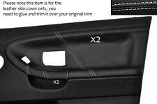 WHITE STITCH 2X FRONT DOOR CARD LEATHER COVERS FITS BMW E36 SALOON SEDAN 91-98