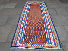 Old Traditional Hand Made Persian Oriental Kilim Cotton Wool Colourful 280x124cm