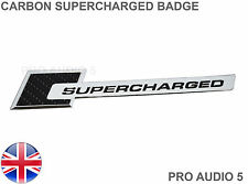 CARBON BLACK SUPERCHARGED CAR BADGE - CHROME - CAR VAN  UNIVERSAL UK POST