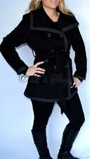 New Womens Kenneth Cole New York Black Double Breasted Wool Blend Coat 12P