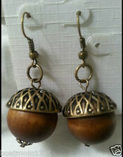 Go Nuts! Realistic Looking Acorn Dangle Earrings, Brasstone ~ Great Gift
