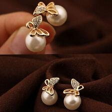 Women Fashion Crystal Butterfly Imitation Pearl beaded Ear Stud Earrings gold cb