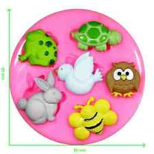 Garden Animals Frog Turtle Rabbit Owl Bee Silicone Mould by Fairie Blessings
