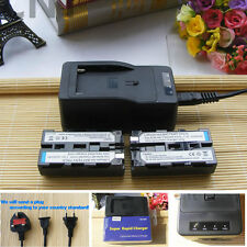2 Battery + Super Rapid Charger for Sony NP-F960 NP-F970 NP-F550 NP-F570 NP-F750