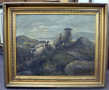 1904 FRAMED SIGNED PAINTING OF SHEEP BY F V LUERZER DAMAGED