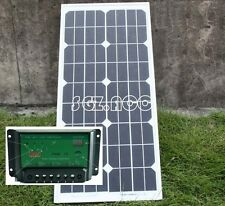 20W solar panel kit trickle charger 12V battery car van motorbike boat 8m Cable
