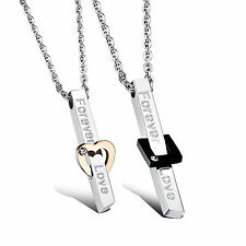 2Pcs Stainless Steel Pendant His and Her Promise Matching Love Couple Necklace