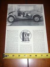 1943 VW VOLKSWAGEN 1st In The U.S.   - ORIGINAL 1960 ARTICLE
