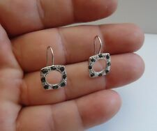 925 STERLING SILVER SQUARE CIRCLE CUT HOOK EARRINGS W/ .40 LAB BLACK DIAMOND