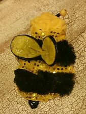 PET DOG X-SMALL TOP PAW WINGED SEQUIN GLITTER BEE HALLOWEEN COSTUME EUC