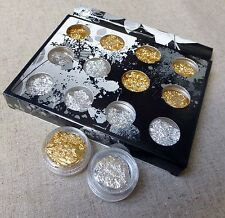 12 pots gold and silver foil, scrapbooking, nail care, resin fimo embellishment,
