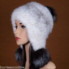 Real Knitted Mink Fur Hat with Fur Pom pom Womens Winter Hats Cap White Lady Hat