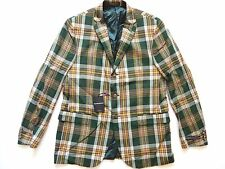 New Ralph Lauren Polo Italy 100% Cotton Green Plaid Sport Coat Jacket SLIM 44 L