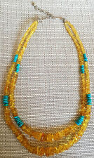 JAY KING Honey Amber & Sleeping Beauty Turquoise Necklace, Sterling Silver