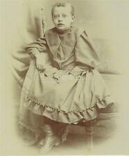 CABINET CARD PHOTO: Poignant SICKLY Pre Mortem YOUNG GIRL w PEARL NECKLACE Frock